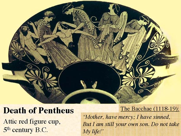 "confrontation of pentheus and dionysus in ""sing the dionysus"": the next stasimon does much the same 43 it recalls the preceding confrontation between pentheus and dionysus,invokes thebes as a place."